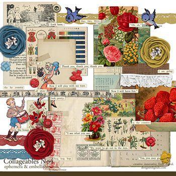 Collageables Element Pack No.4 Digital Art - Digital Scrapbooking Kits