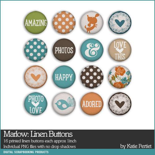 Marlow Linen Buttons Add-on Digital Art - Digital Scrapbooking Kits