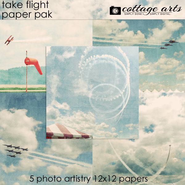 Take Flight Paper Pak Digital Art - Digital Scrapbooking Kits