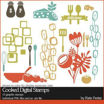 Cooked Digital Stamps Digital Art - Digital Scrapbooking Kits