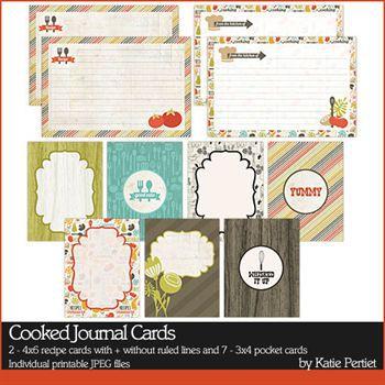 Cooked Journal Cards Digital Art - Digital Scrapbooking Kits