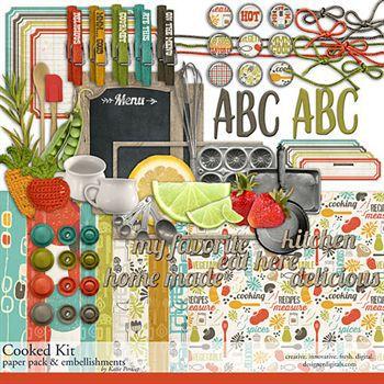 Cooked Kit Digital Art - Digital Scrapbooking Kits