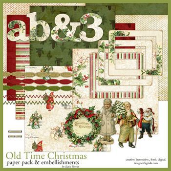 Old Time Christmas Kit Digital Art - Digital Scrapbooking Kits