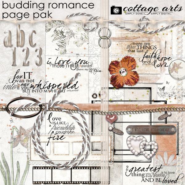 Budding Romance Page Pak Digital Art - Digital Scrapbooking Kits