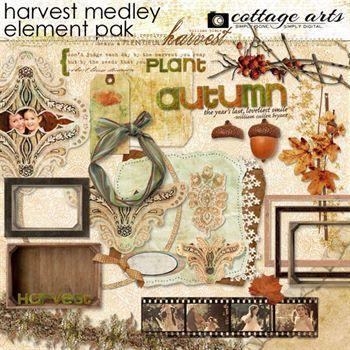 Harvest Medley Element Pak Digital Art - Digital Scrapbooking Kits