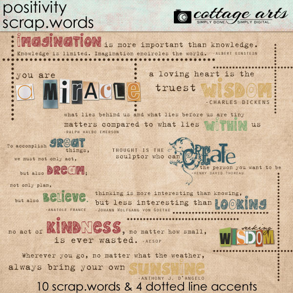 Positivity Scrap.Words Digital Art - Digital Scrapbooking Kits