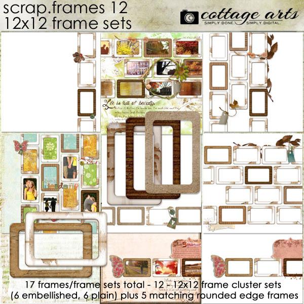 Scrap.frames 12 - 12x12 Frame Sets Digital Art - Digital Scrapbooking Kits