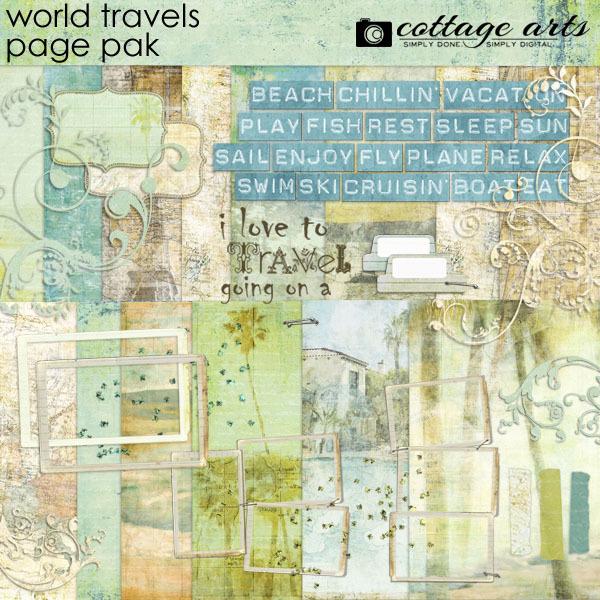 World Travels Page Pak Digital Art - Digital Scrapbooking Kits