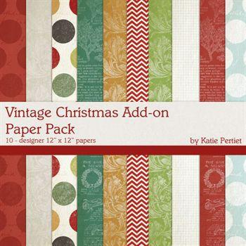Vintage Christmas Add-on Paper Pack Digital Art - Digital Scrapbooking Kits