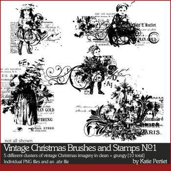 Vintage Christmas Brushes And Stamps Digital Art - Digital Scrapbooking Kits