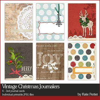 Vintage Christmas Journal Cards Digital Art - Digital Scrapbooking Kits