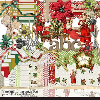 Vintage Christmas Kit Digital Art - Digital Scrapbooking Kits
