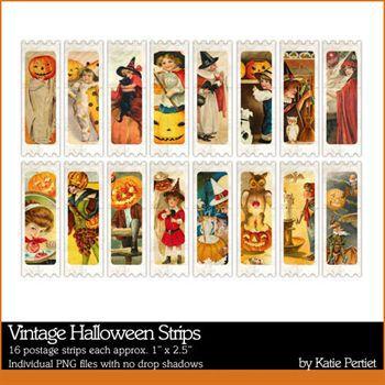 Vintage Halloween Strips Digital Art - Digital Scrapbooking Kits