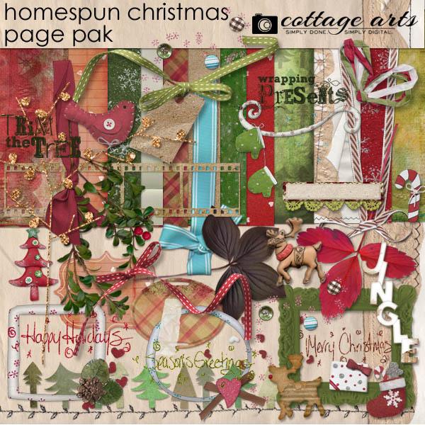 Homespun Christmas Page Pak Digital Art - Digital Scrapbooking Kits
