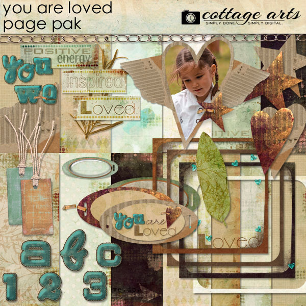 You Are Loved Page Pak Digital Art - Digital Scrapbooking Kits