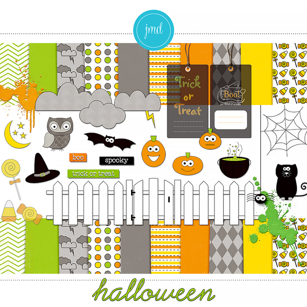 Halloween Digital Art - Digital Scrapbooking Kits