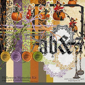 Halloween Memories Kit Digital Art - Digital Scrapbooking Kits