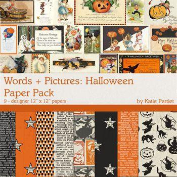 Words + Pictures Halloween Paper Pack Digital Art - Digital Scrapbooking Kits