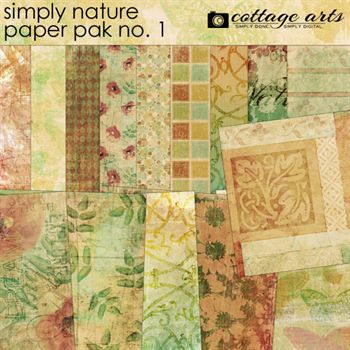 Simply Nature 1 Paper Pak Digital Art - Digital Scrapbooking Kits