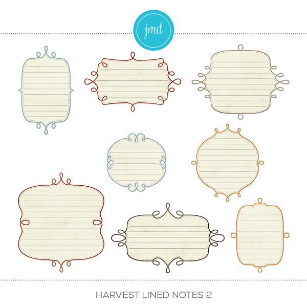 Harvest Lined Notes 2 Digital Art - Digital Scrapbooking Kits