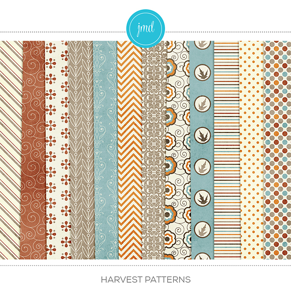 Harvest Patterns Digital Art - Digital Scrapbooking Kits