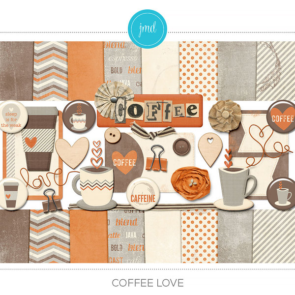 Coffee Love Digital Art - Digital Scrapbooking Kits