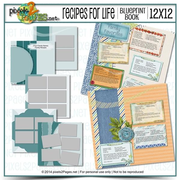 12x12 Recipes For Life Blueprint Book Digital Art - Digital Scrapbooking Kits