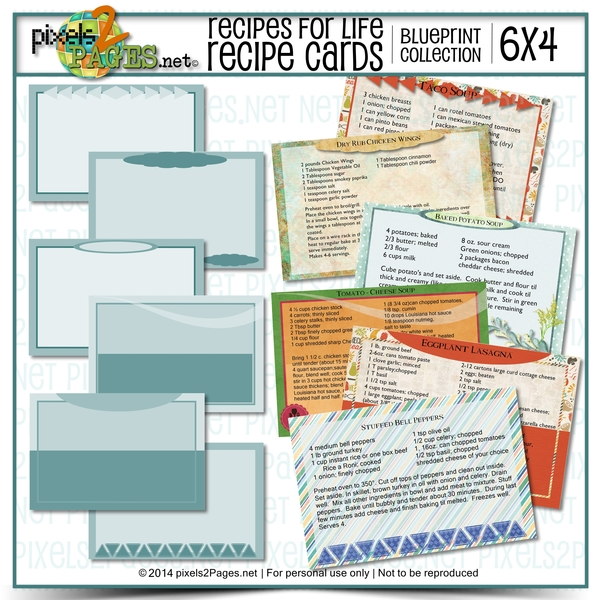 6x4 Recipes For Life Blueprint Cards Digital Art - Digital Scrapbooking Kits