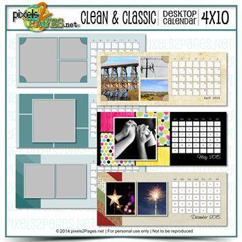 4x10 Clean & Classic Desktop Calendar Digital Art - Digital Scrapbooking Kits