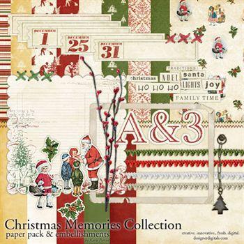 Christmas Memories Kit Digital Art - Digital Scrapbooking Kits