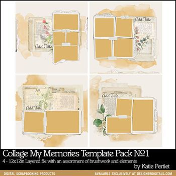 Collage My Memories Predesigned Pages No1 Digital Art - Digital Scrapbooking Kits