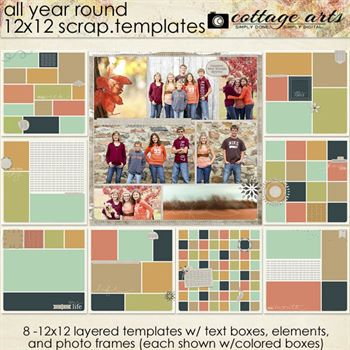 All Year Round 12x12 Scrap.templates Digital Art - Digital Scrapbooking Kits