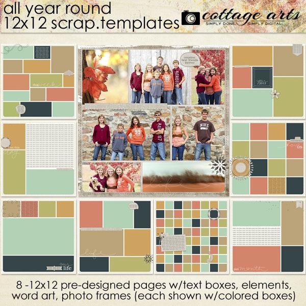 All Year Round 12x12 Scrap.templates Digital Art - Digital Scrapbooking Kits