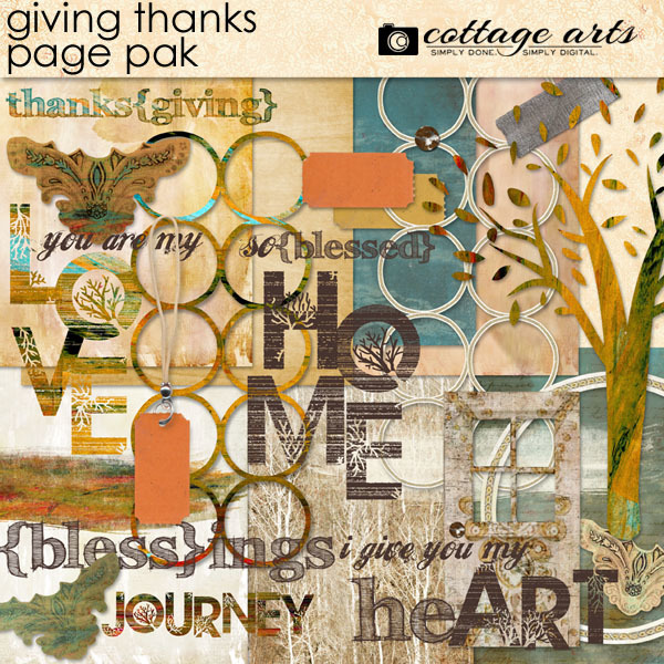 Giving Thanks Page Pak Digital Art - Digital Scrapbooking Kits