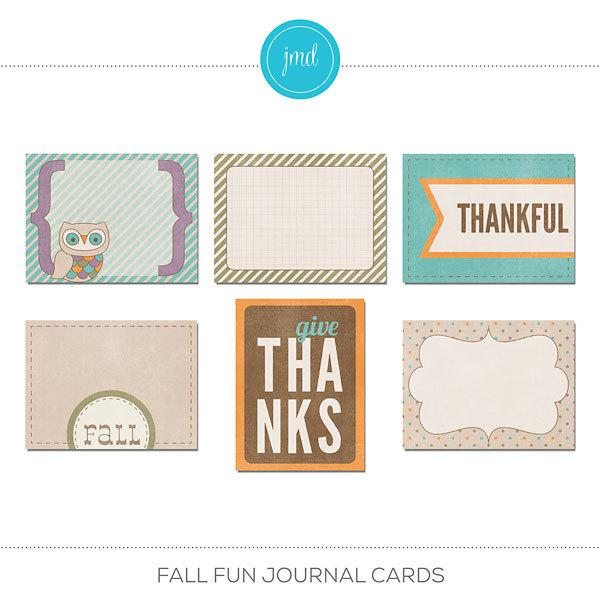 Fall Fun Journal Cards Digital Art - Digital Scrapbooking Kits