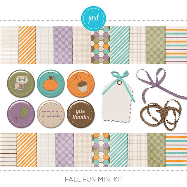 Fall Fun Mini Kit Digital Art - Digital Scrapbooking Kits