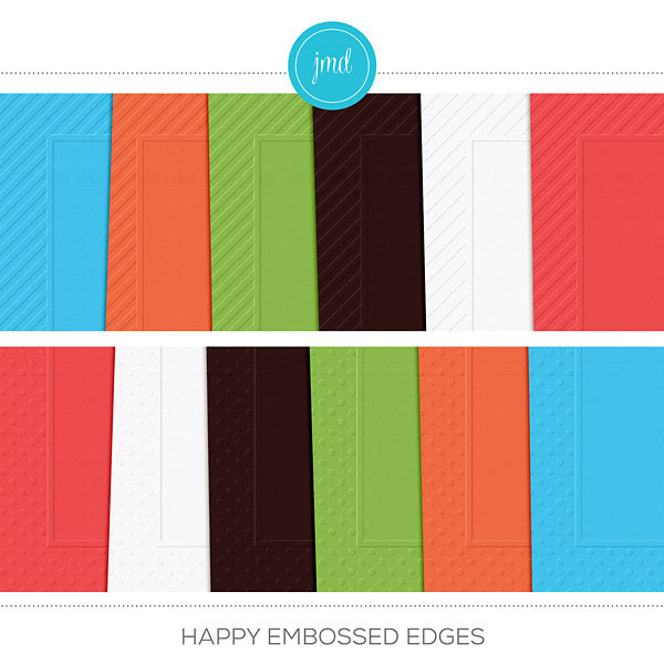 Happy Embossed Edges Cardstock Digital Art - Digital Scrapbooking Kits