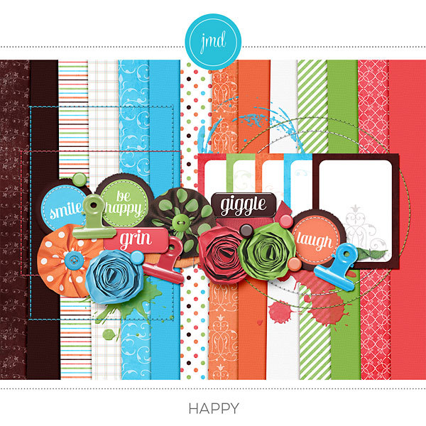 Happy Kit Digital Art - Digital Scrapbooking Kits