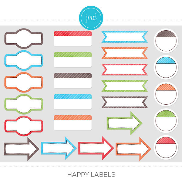 Happy Labels Digital Art - Digital Scrapbooking Kits