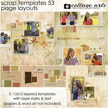 12 X 12 Scrap.templates 53 - Page Layouts Digital Art - Digital Scrapbooking Kits
