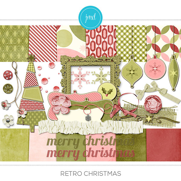 Retro Christmas Digital Art - Digital Scrapbooking Kits