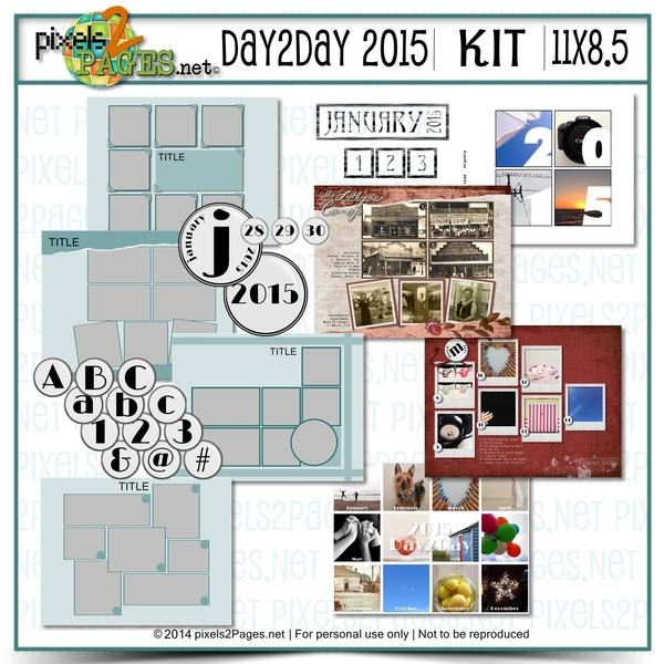 11x8.5 Day2day 2015 Kit Digital Art - Digital Scrapbooking Kits