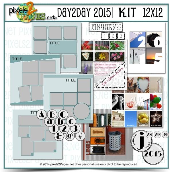 12x12 Day2day 2015 Kit Digital Art - Digital Scrapbooking Kits