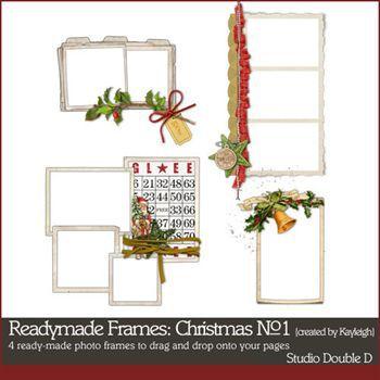 Readymade Frames Christmas No1 Digital Art - Digital Scrapbooking Kits