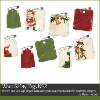 Worn Safety Tags No2 Digital Art - Digital Scrapbooking Kits