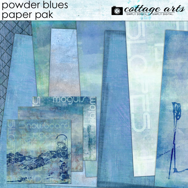 Powder Blues Paper Pak Digital Art - Digital Scrapbooking Kits