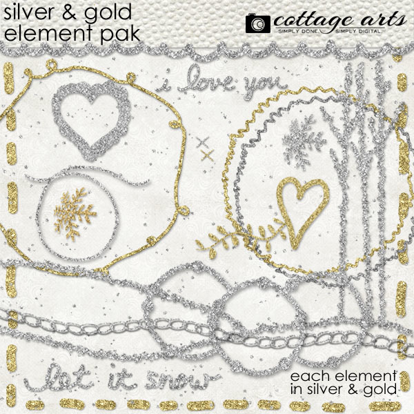Silver & Gold Element Pak Digital Art - Digital Scrapbooking Kits