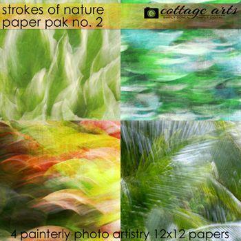 Strokes Of Nature 2 Paper Pak Digital Art - Digital Scrapbooking Kits