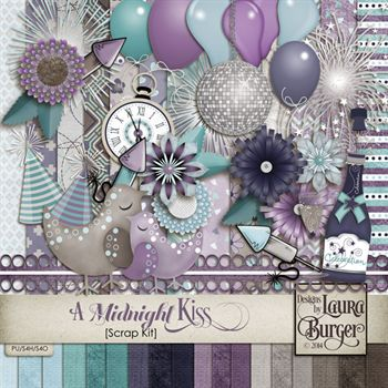 A Midnight Kiss Scrap Kit Digital Art - Digital Scrapbooking Kits