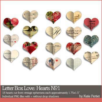 Letter Box Love Hearts Digital Art - Digital Scrapbooking Kits